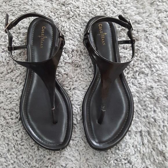 a9bc66b15fd Cole Haan Shoes | Black Leather Air Bria Thong Sandal | Poshmark